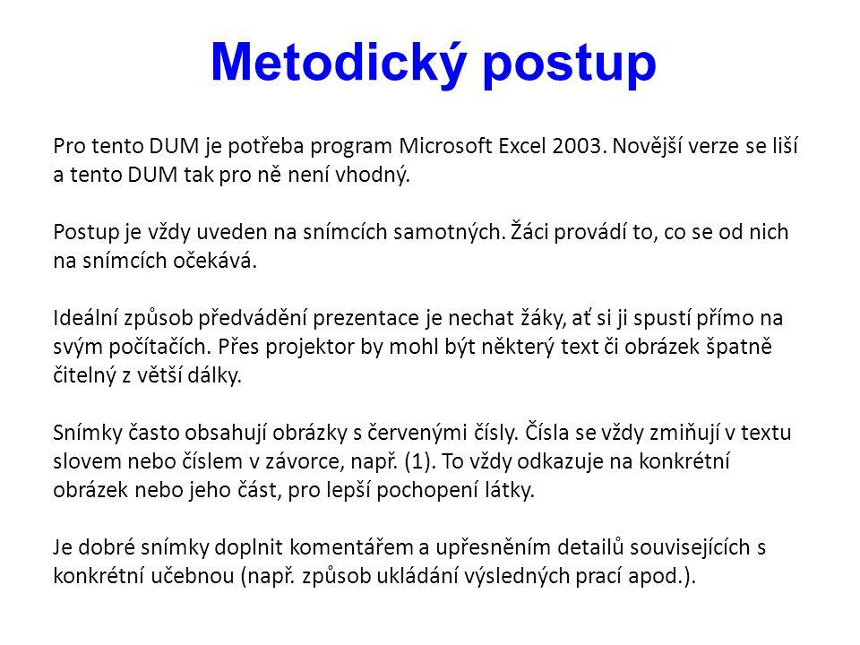 Pro tento DUM je potřeba program Microsoft Excel 2003.