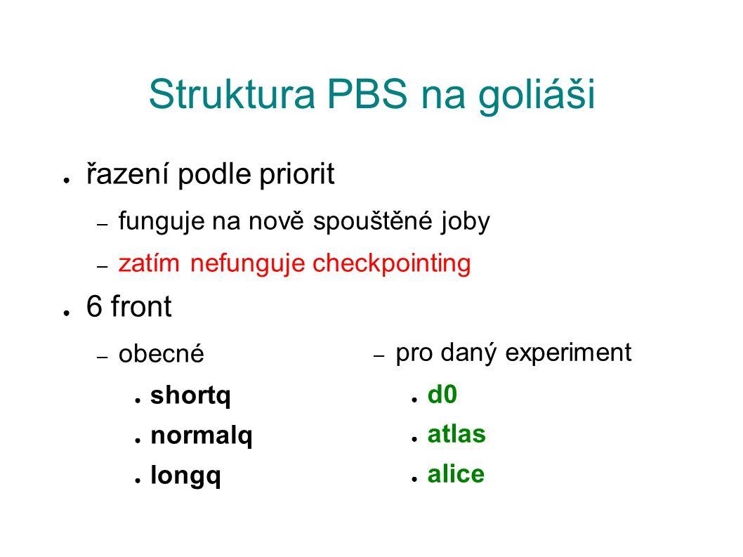 Struktura PBS na goliáši ● řazení podle priorit – funguje na nově spouštěné joby – zatím nefunguje checkpointing ● 6 front – obecné ● shortq ● normalq ● longq – pro daný experiment ● d0 ● atlas ● alice