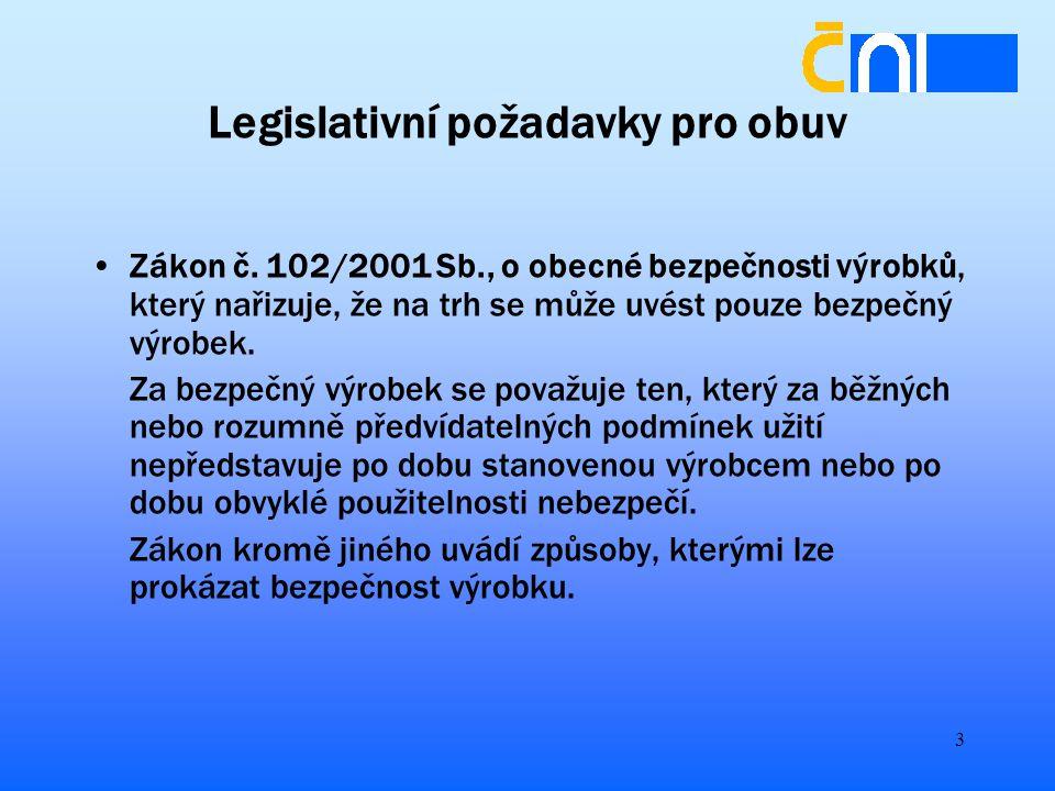 3 Legislativní požadavky pro obuv Zákon č.