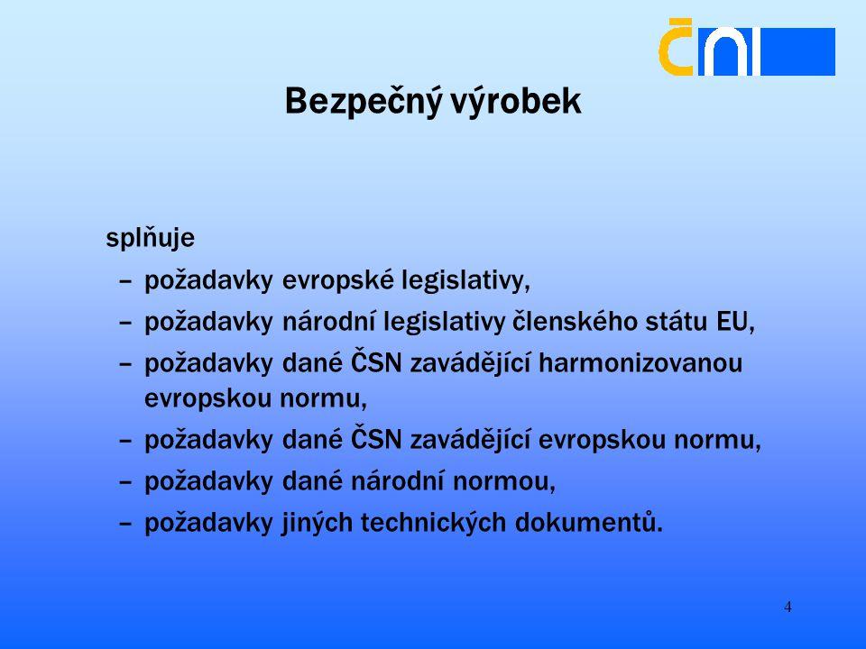 4 Bezpečný výrobek splňuje –požadavky evropské legislativy, –požadavky národní legislativy členského státu EU, –požadavky dané ČSN zavádějící harmonizovanou evropskou normu, –požadavky dané ČSN zavádějící evropskou normu, –požadavky dané národní normou, –požadavky jiných technických dokumentů.