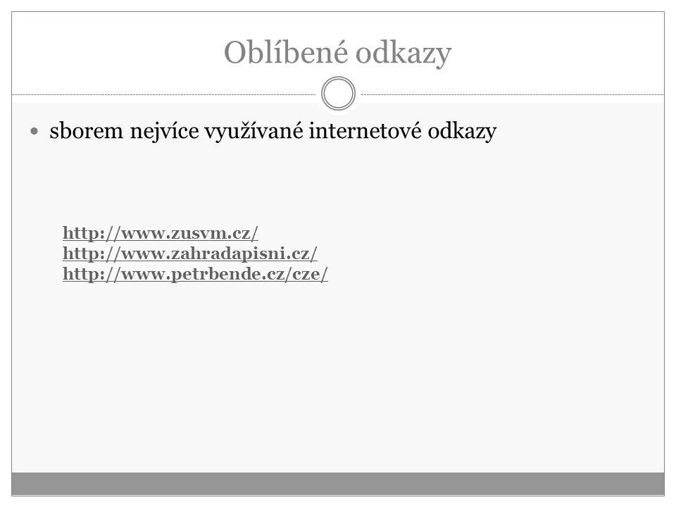 Oblíbené odkazy sborem nejvíce využívané internetové odkazy http://www.zusvm.cz/ http://www.zahradapisni.cz/ http://www.petrbende.cz/cze/