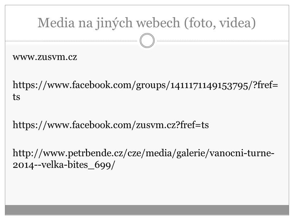 Media na jiných webech (foto, videa) www.zusvm.cz https://www.facebook.com/groups/1411171149153795/?fref= ts https://www.facebook.com/zusvm.cz?fref=ts