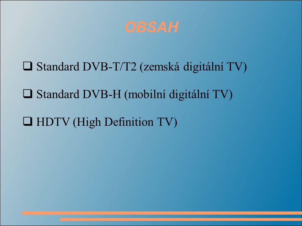 OBSAH  Standard DVB-T/T2 (zemská digitální TV)  Standard DVB-H (mobilní digitální TV)  HDTV (High Definition TV)