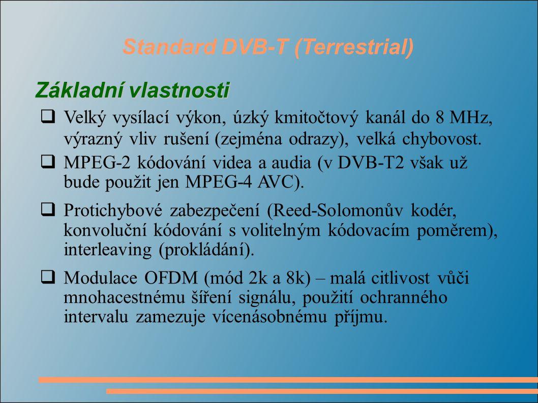 Standard DVB-T (Terrestrial)  Velký vysílací výkon, úzký kmitočtový kanál do 8 MHz, výrazný vliv rušení (zejména odrazy), velká chybovost.