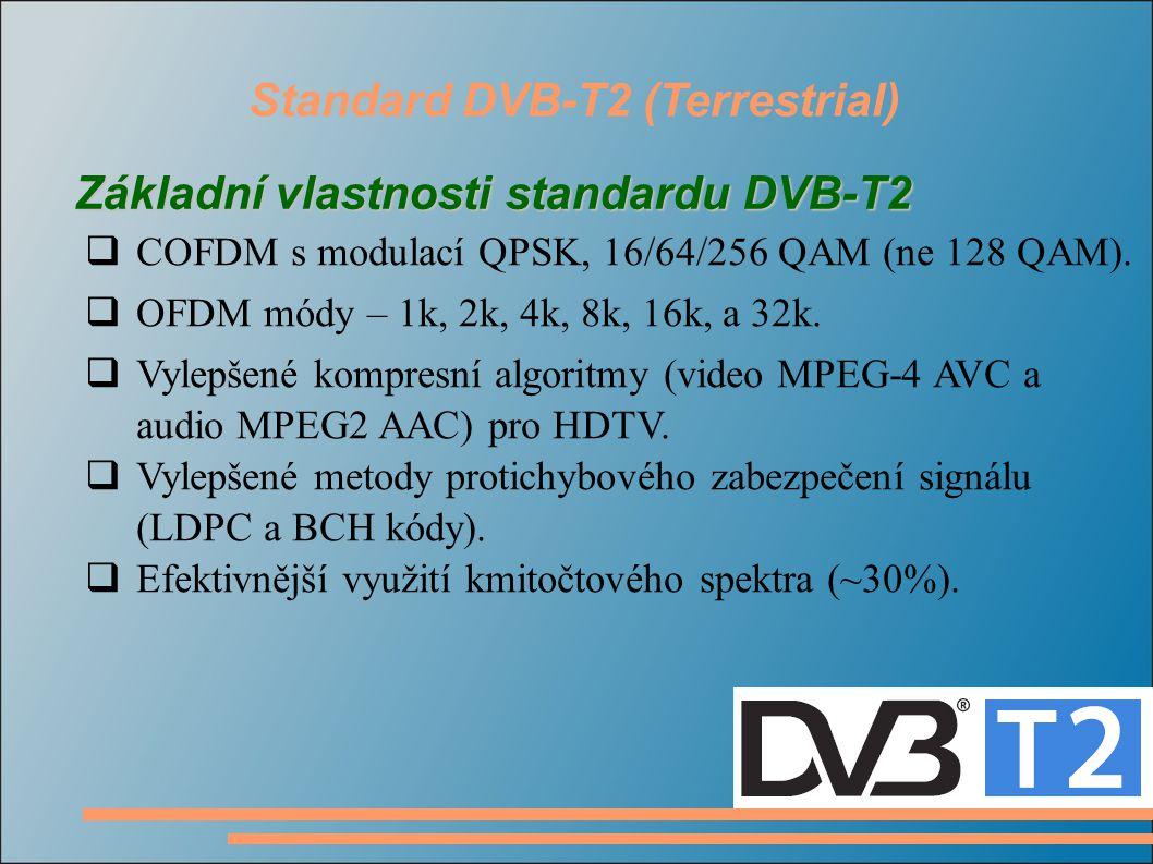 Standard DVB-T2 (Terrestrial)  COFDM s modulací QPSK, 16/64/256 QAM (ne 128 QAM).