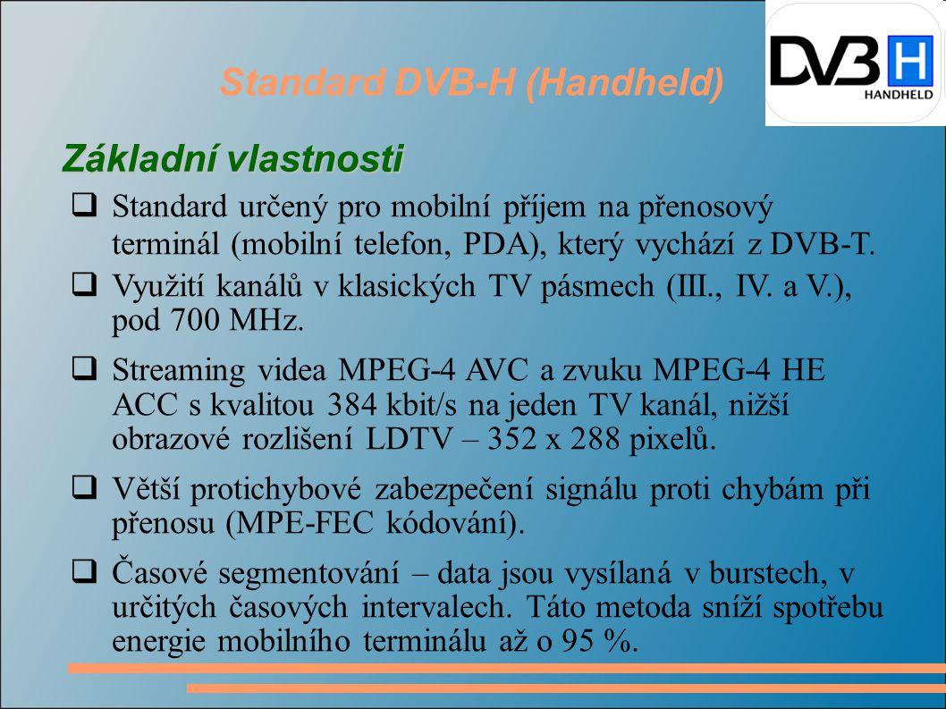 Standard DVB-H (Handheld) Základní vlastnosti  Standard určený pro mobilní příjem na přenosový terminál (mobilní telefon, PDA), který vychází z DVB-T.