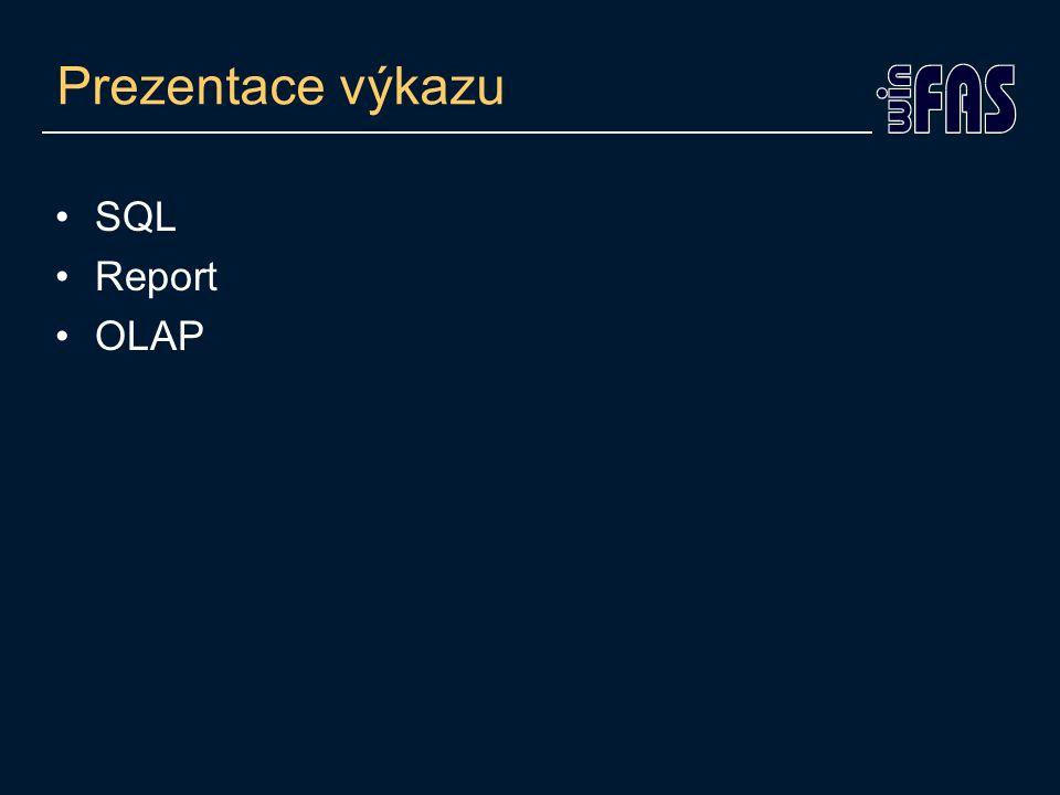 Prezentace výkazu SQL Report OLAP