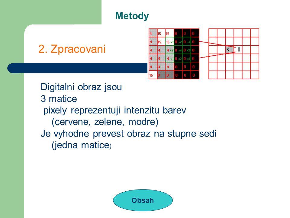 Metody Obsah 2. Zpracovani Digitalni obraz jsou 3 matice pixely reprezentuji intenzitu barev (cervene, zelene, modre) Je vyhodne prevest obraz na stup