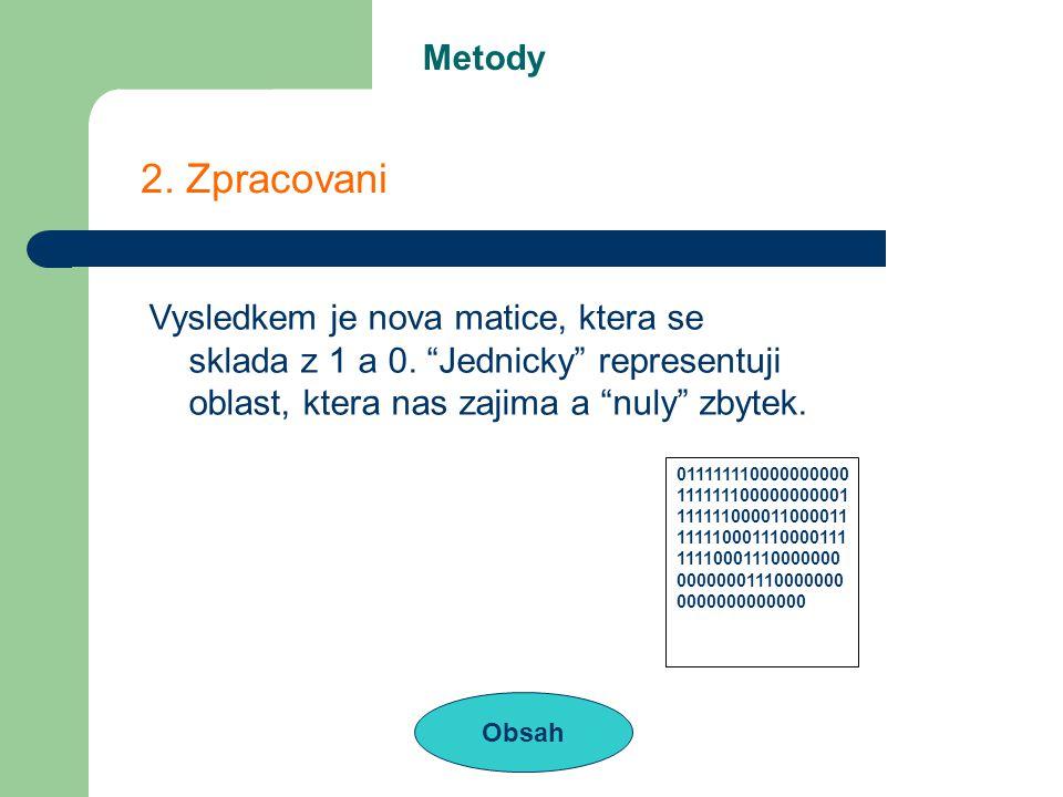 Metody Obsah 2. Zpracovani Vysledkem je nova matice, ktera se sklada z 1 a 0.