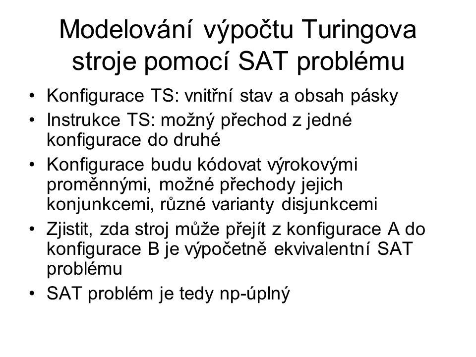Modelování výpočtu Turingova stroje pomocí SAT problému Konfigurace TS: vnitřní stav a obsah pásky Instrukce TS: možný přechod z jedné konfigurace do
