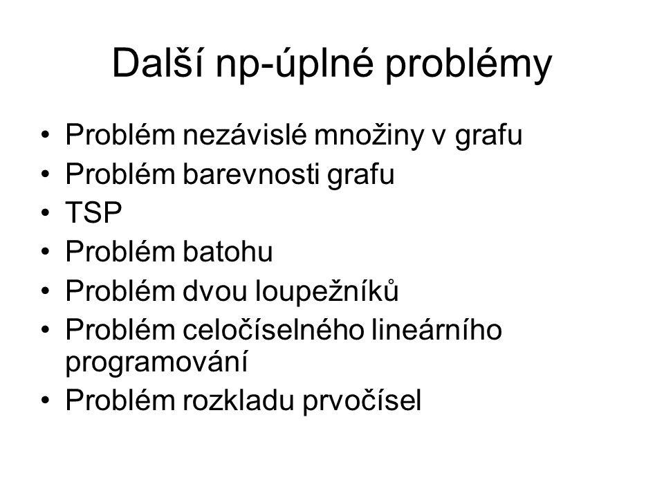 Další np-úplné problémy Problém nezávislé množiny v grafu Problém barevnosti grafu TSP Problém batohu Problém dvou loupežníků Problém celočíselného li