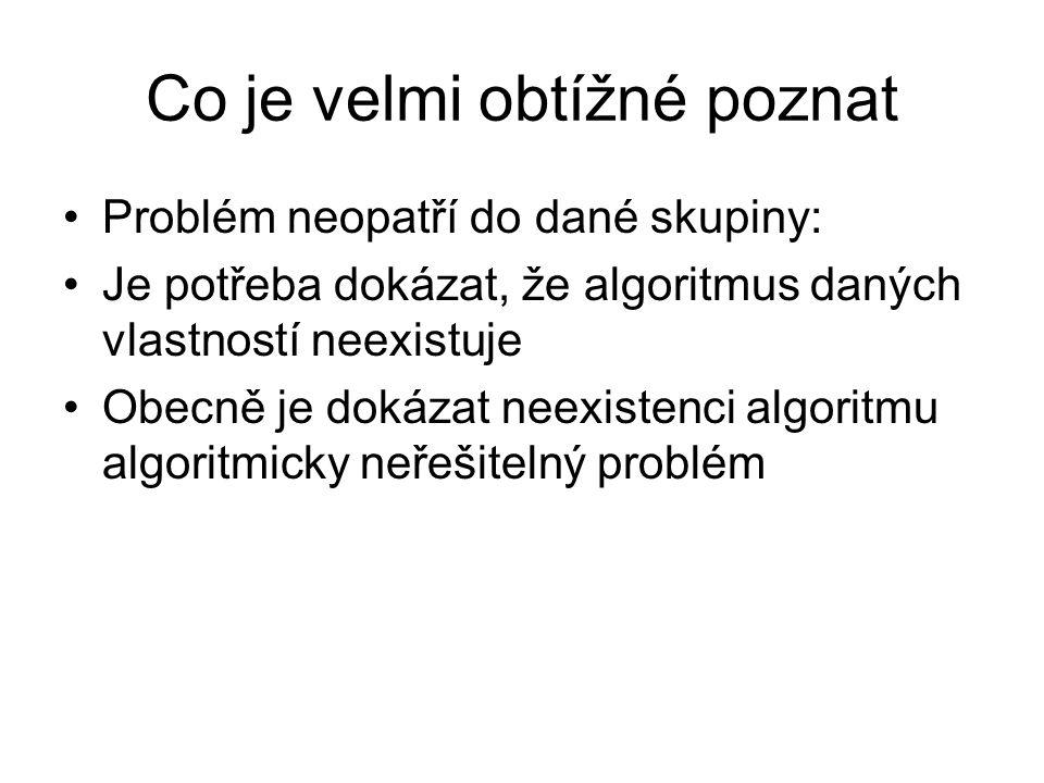 Co je velmi obtížné poznat Problém neopatří do dané skupiny: Je potřeba dokázat, že algoritmus daných vlastností neexistuje Obecně je dokázat neexiste