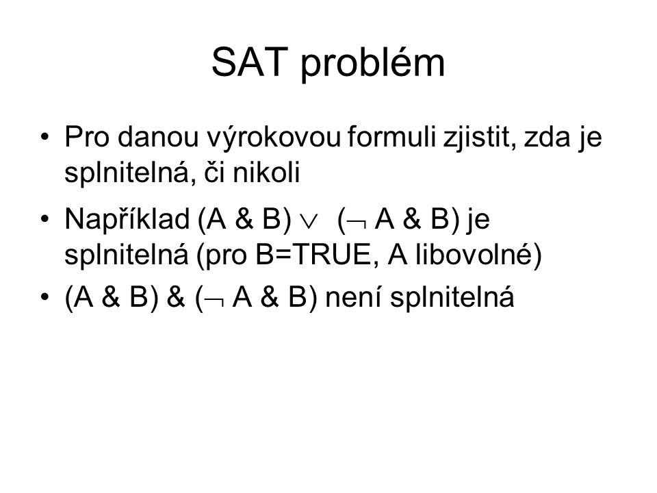 SAT problém Pro danou výrokovou formuli zjistit, zda je splnitelná, či nikoli Například (A & B)  (  A & B) je splnitelná (pro B=TRUE, A libovolné) (