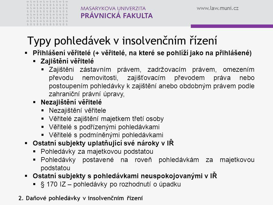 www.law.muni.cz Typy pohledávek v insolvenčním řízení  Přihlášení věřitelé (+ věřitelé, na které se pohlíží jako na přihlášené)  Zajištění věřitelé
