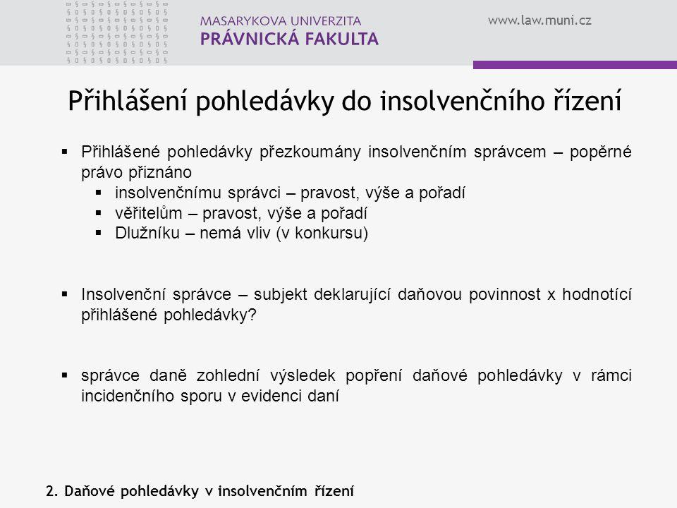 www.law.muni.cz Přihlášení pohledávky do insolvenčního řízení  Přihlášené pohledávky přezkoumány insolvenčním správcem – popěrné právo přiznáno  ins