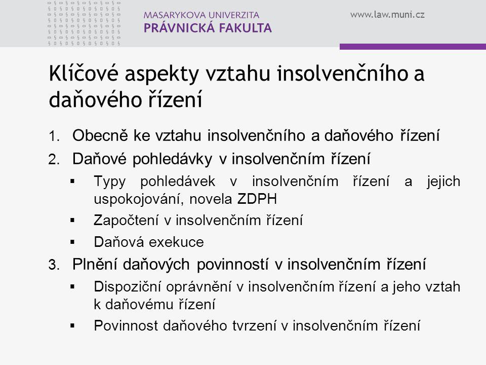 www.law.muni.cz 1. Obecně ke vztahu insolvenčního a daňového řízení 2. Daňové pohledávky v insolvenčním řízení  Typy pohledávek v insolvenčním řízení