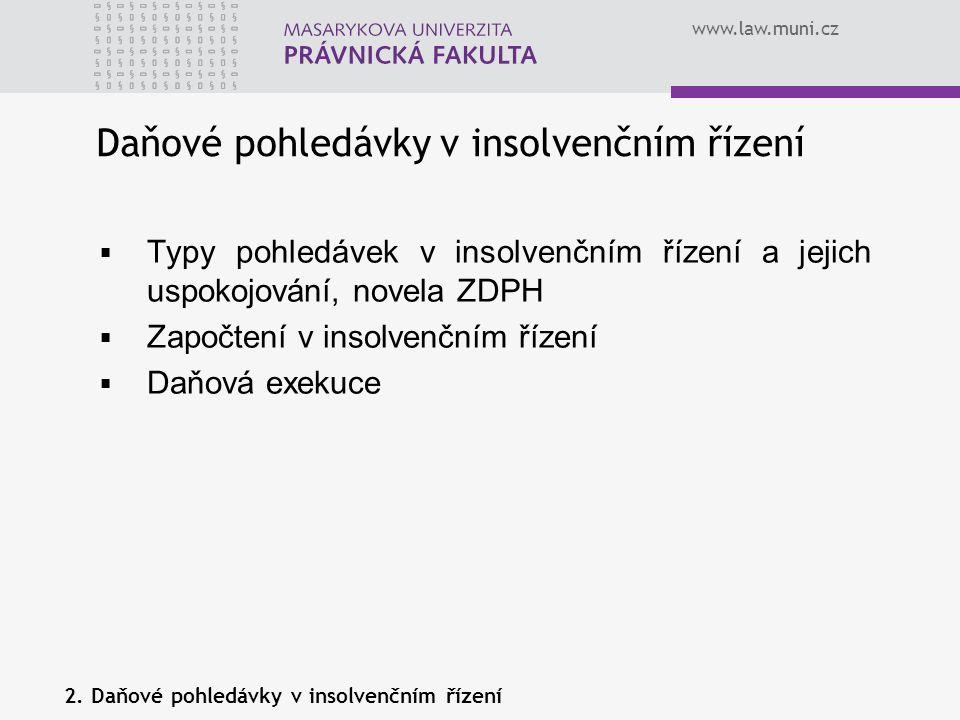 www.law.muni.cz Daňové pohledávky v insolvenčním řízení  Typy pohledávek v insolvenčním řízení a jejich uspokojování, novela ZDPH  Započtení v insol