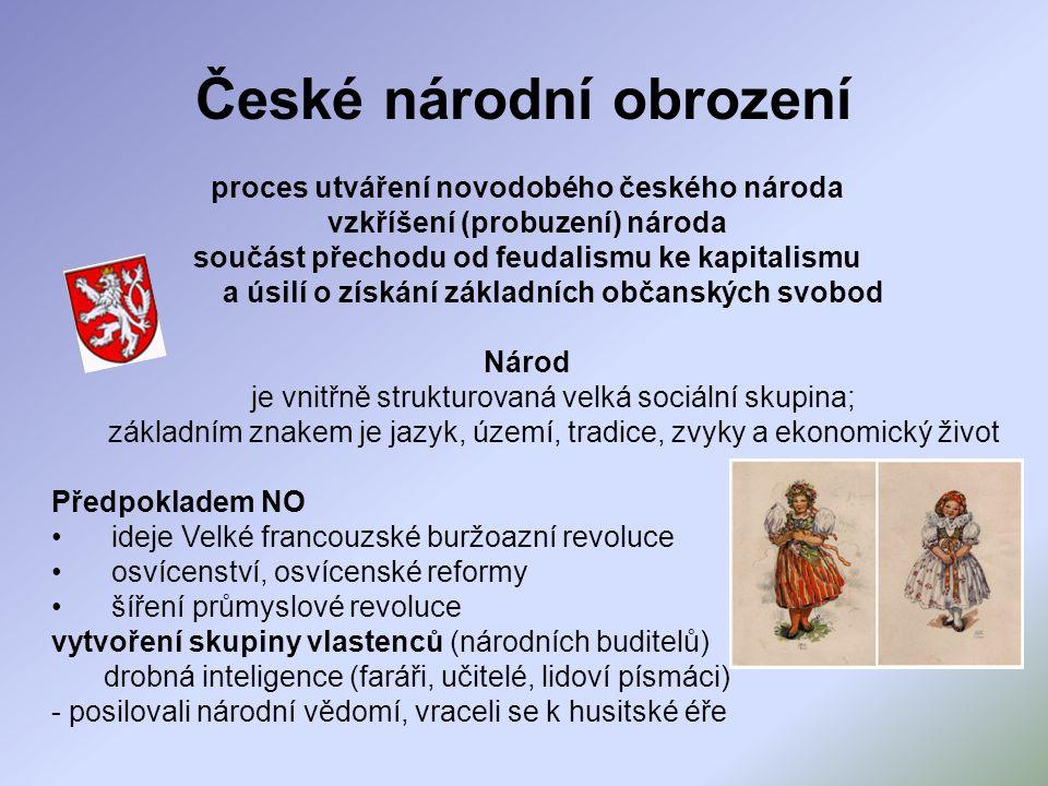 Proudy české buržoazie Liberálové – idea austroslavismu rovná práva Čechů v rámci monarchie např.