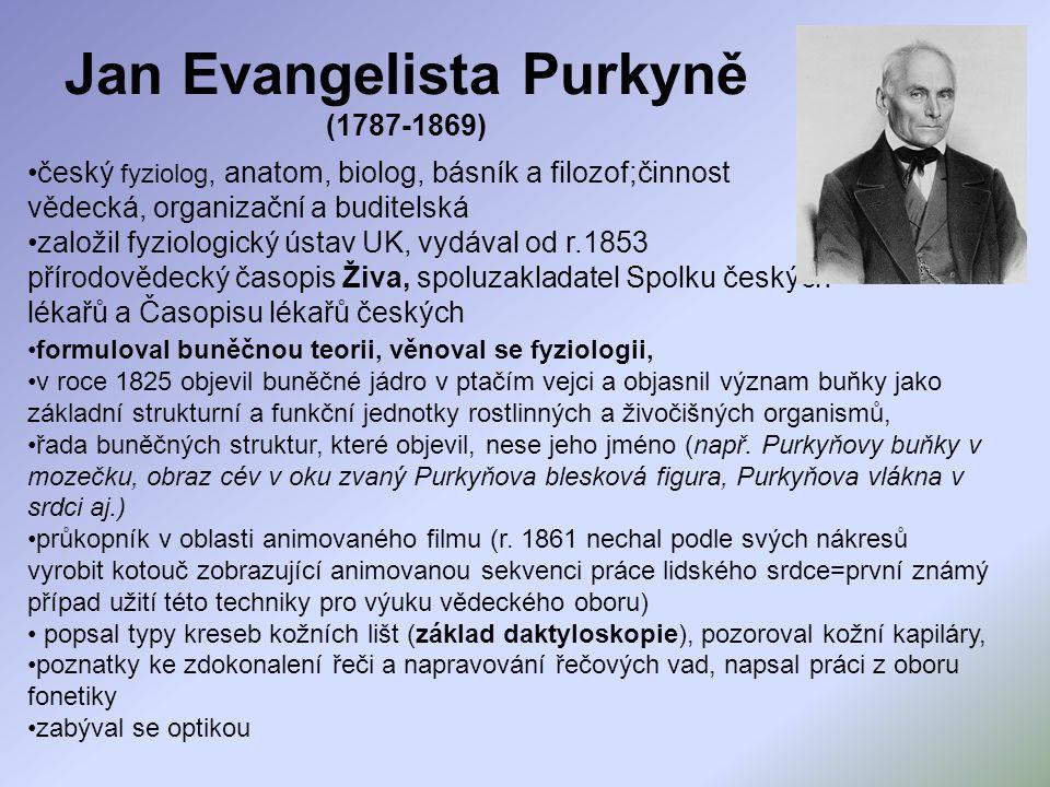 Jan Evangelista Purkyně (1787-1869) český fyziolog, anatom, biolog, básník a filozof;činnost vědecká, organizační a buditelská založil fyziologický ús