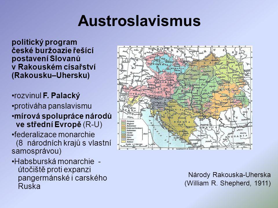 Austroslavismus politický program české buržoazie řešící postavení Slovanů v Rakouském císařství (Rakousku–Uhersku) rozvinul F. Palacký protiváha pans