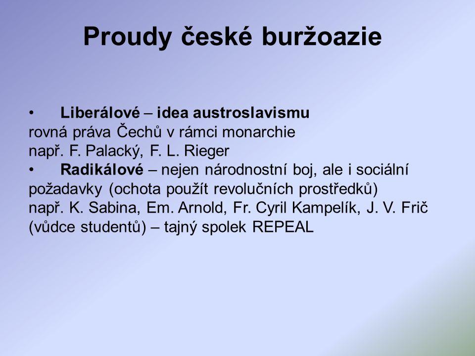 Proudy české buržoazie Liberálové – idea austroslavismu rovná práva Čechů v rámci monarchie např. F. Palacký, F. L. Rieger Radikálové – nejen národnos