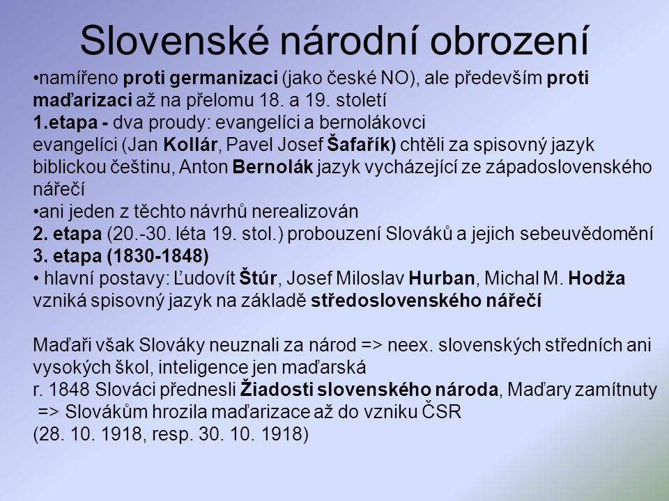 Slovenské národní obrození namířeno proti germanizaci (jako české NO), ale především proti maďarizaci až na přelomu 18. a 19. století 1.etapa - dva pr