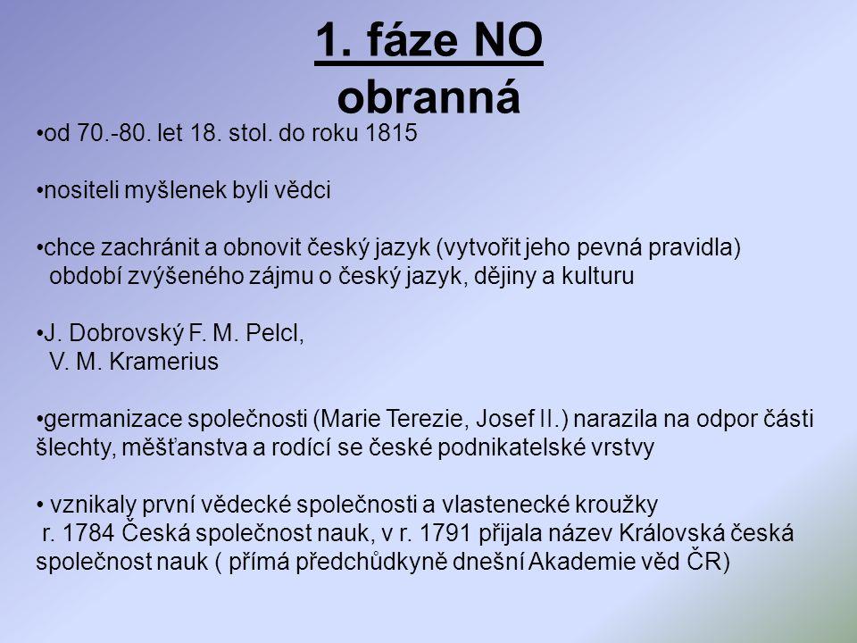 1. fáze NO obranná od 70.-80. let 18. stol. do roku 1815 nositeli myšlenek byli vědci chce zachránit a obnovit český jazyk (vytvořit jeho pevná pravid