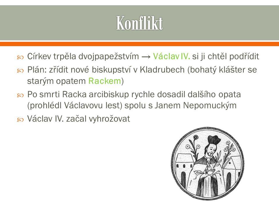  Církev trpěla dvojpapežstvím → Václav IV. si ji chtěl podřídit  Plán: zřídit nové biskupství v Kladrubech (bohatý klášter se starým opatem Rackem)