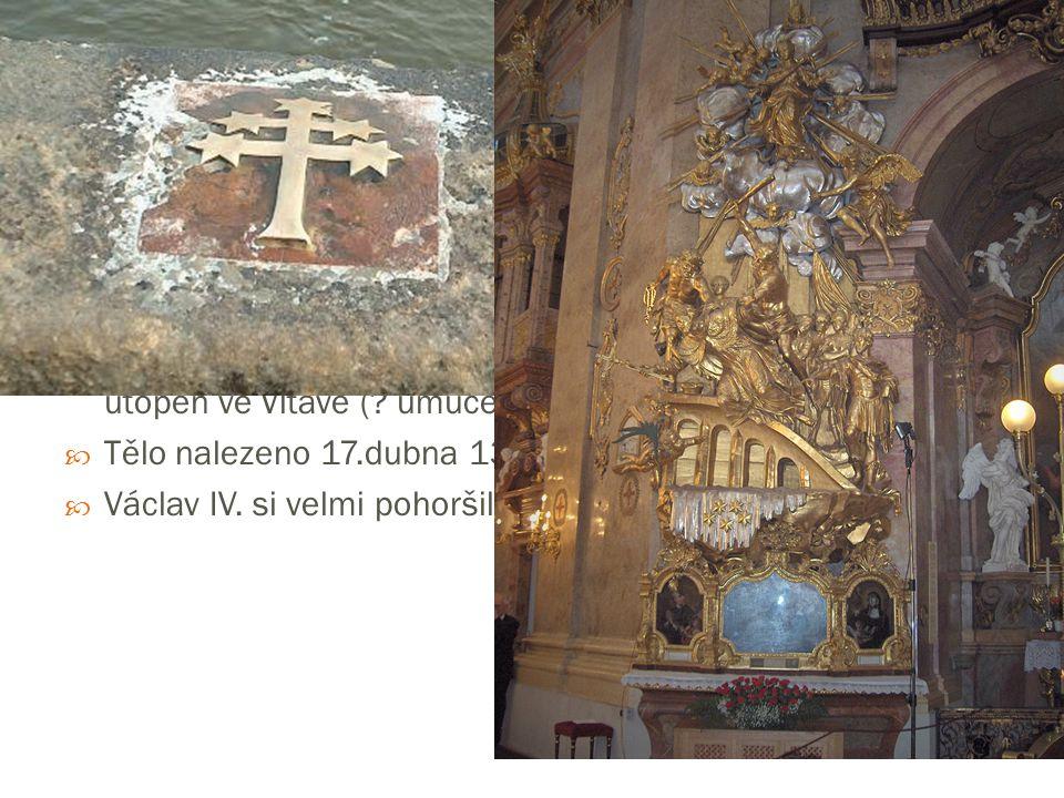  1393 – Václav IV. navrhl smír → uspořádání jednání X všechny účastníky nechal zatknout (unikl pouze arcibiskup)  Jan Nepomucký mučen  nepodléhal k