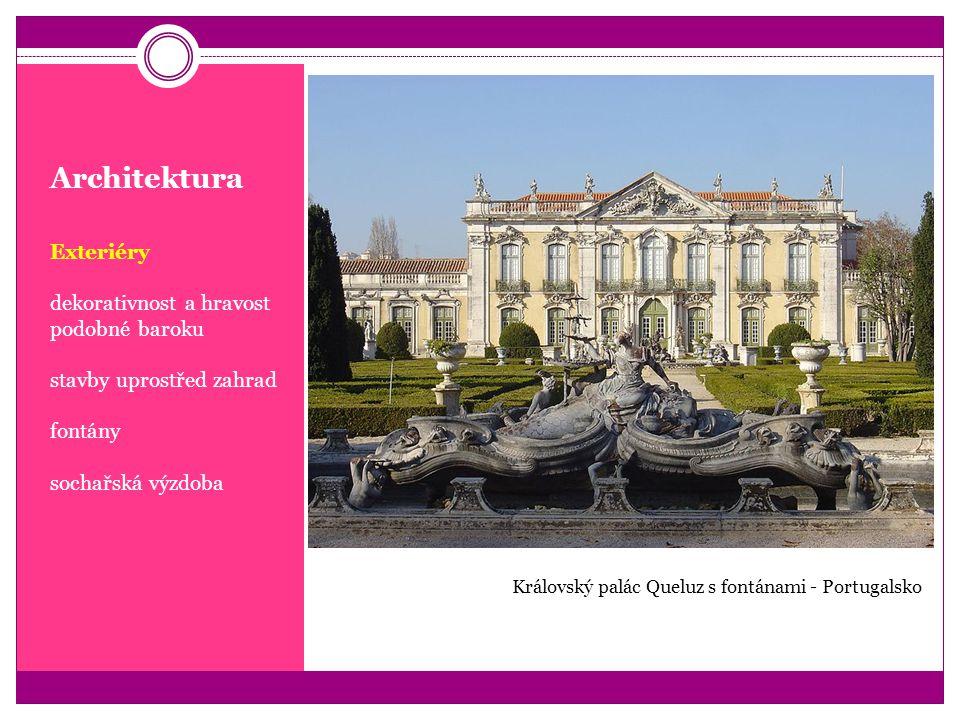 Architektura Exteriéry dekorativnost a hravost podobné baroku stavby uprostřed zahrad fontány sochařská výzdoba Královský palác Queluz s fontánami - P