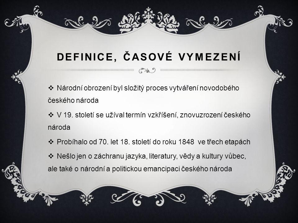 DEFINICE, ČASOVÉ VYMEZENÍ  Národní obrození byl složitý proces vytváření novodobého českého národa  V 19. století se užíval termín vzkříšení, znovuz