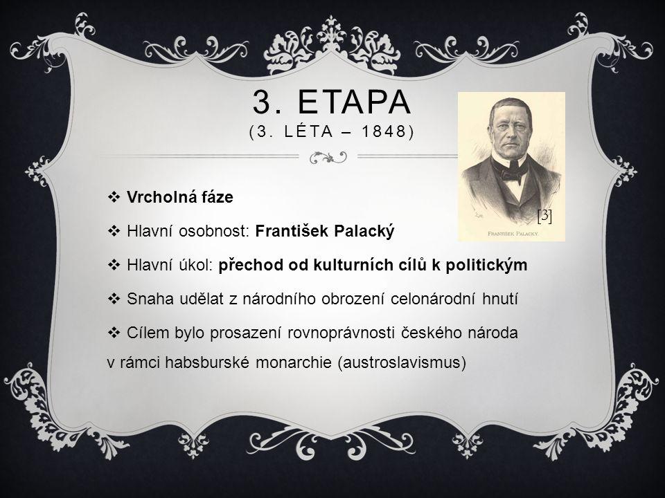 3. ETAPA (3. LÉTA – 1848)  Vrcholná fáze  Hlavní osobnost: František Palacký  Hlavní úkol: přechod od kulturních cílů k politickým  Snaha udělat z