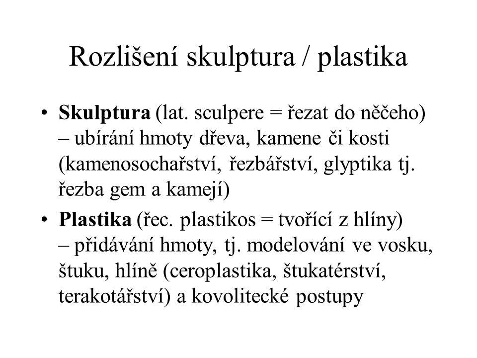 Rozlišení skulptura / plastika Skulptura (lat. sculpere = řezat do něčeho) – ubírání hmoty dřeva, kamene či kosti (kamenosochařství, řezbářství, glypt