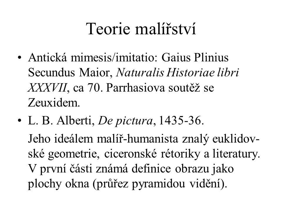 Teorie malířství Antická mimesis/imitatio: Gaius Plinius Secundus Maior, Naturalis Historiae libri XXXVII, ca 70. Parrhasiova soutěž se Zeuxidem. L. B