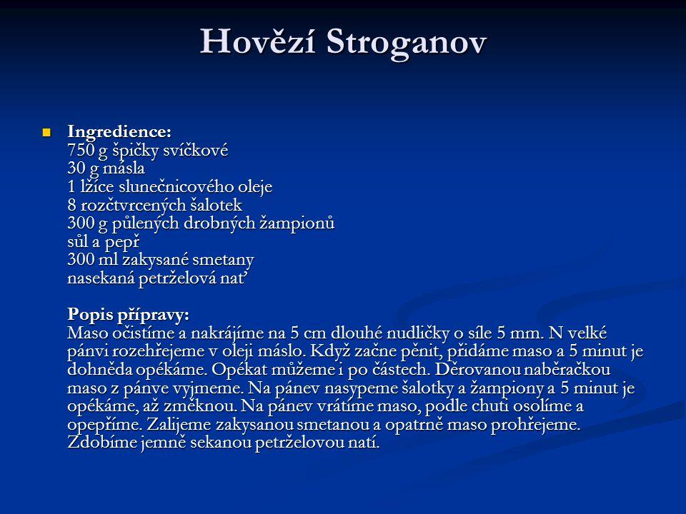 Hovězí Stroganov Ingredience: 750 g špičky svíčkové 30 g másla 1 lžíce slunečnicového oleje 8 rozčtvrcených šalotek 300 g půlených drobných žampionů s