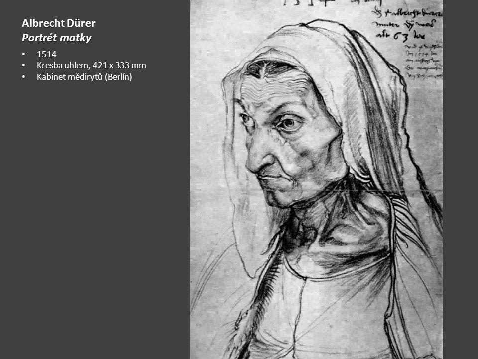 Albrecht Dürer Portrét matky 1514 1514 Kresba uhlem, 421 x 333 mm Kresba uhlem, 421 x 333 mm Kabinet mědirytů (Berlín) Kabinet mědirytů (Berlín)