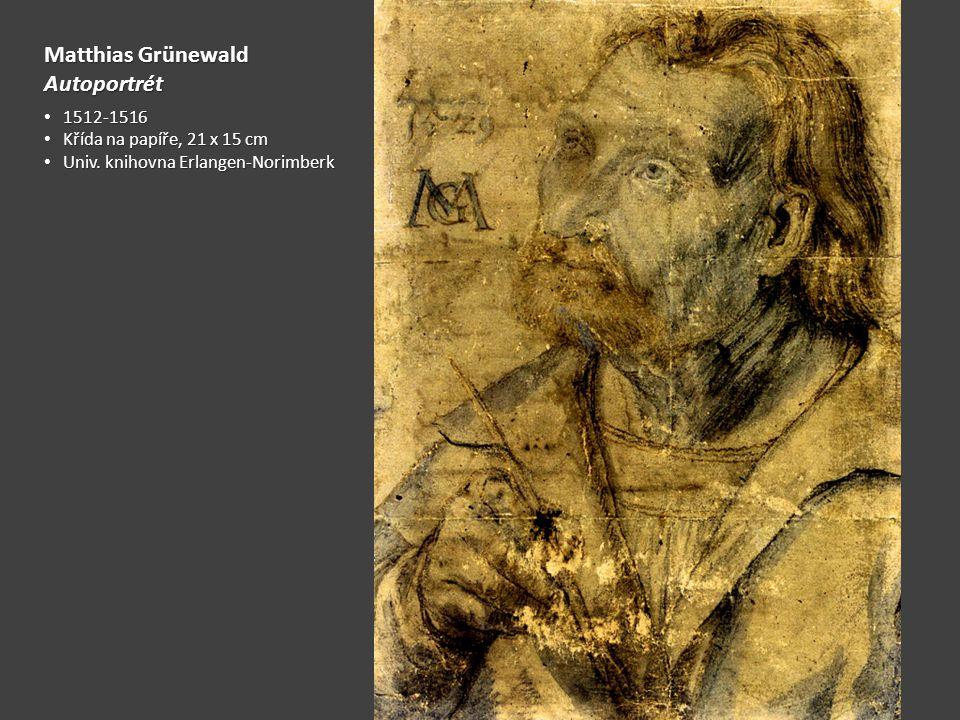Matthias Grünewald Autoportrét 1512-1516 1512-1516 Křída na papíře, 21 x 15 cm Křída na papíře, 21 x 15 cm Univ. knihovna Erlangen-Norimberk Univ. kni