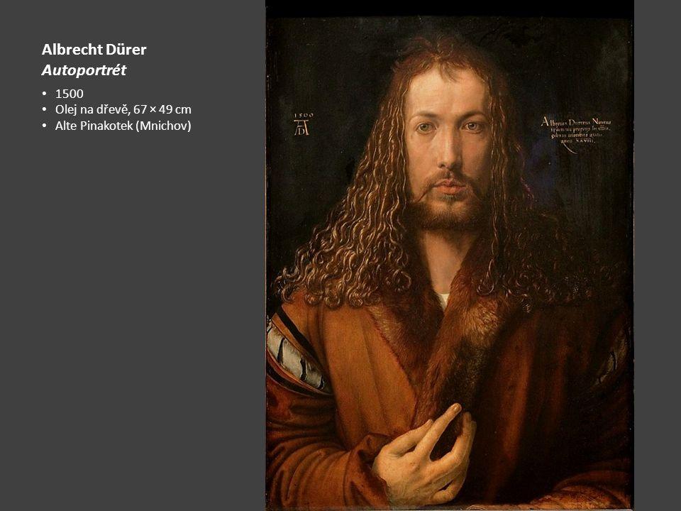 Albrecht Dürer Autoportrét 1500 Olej na dřevě, 67 × 49 cm Alte Pinakotek (Mnichov)