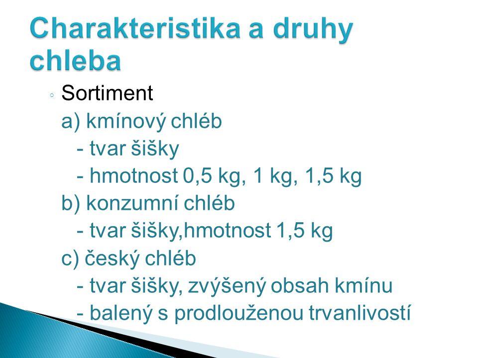 ◦ Sortiment a) kmínový chléb - tvar šišky - hmotnost 0,5 kg, 1 kg, 1,5 kg b) konzumní chléb - tvar šišky,hmotnost 1,5 kg c) český chléb - tvar šišky,