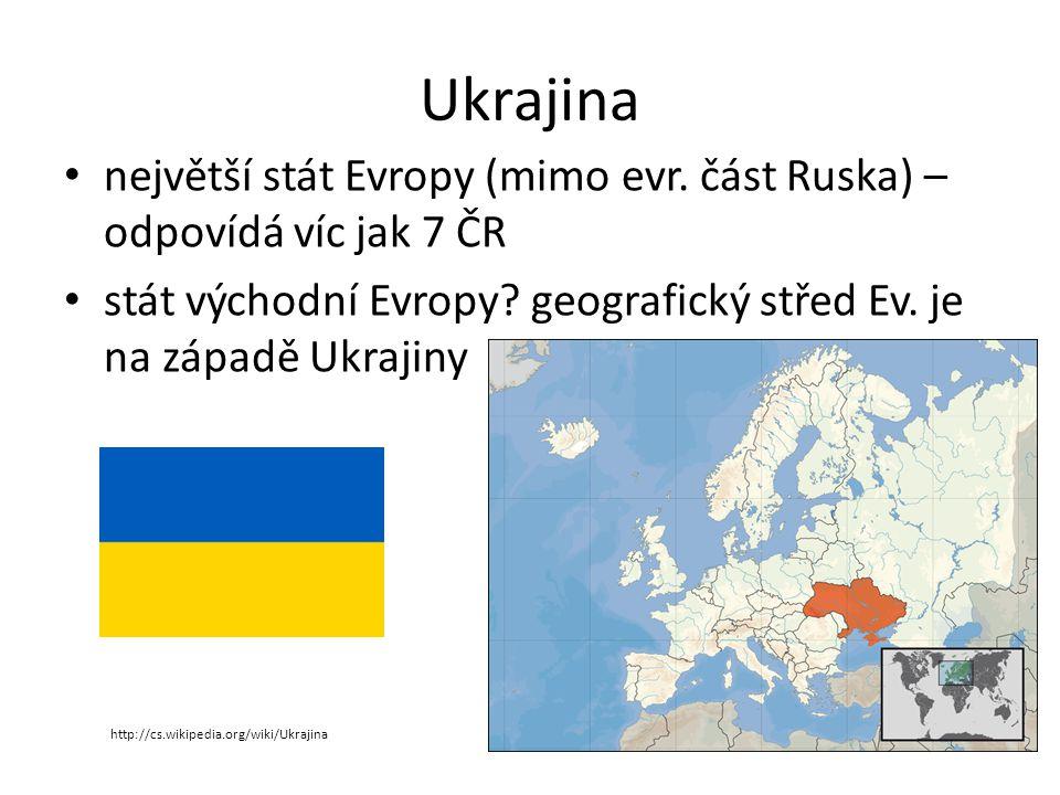 Ukrajina největší stát Evropy (mimo evr. část Ruska) – odpovídá víc jak 7 ČR stát východní Evropy.