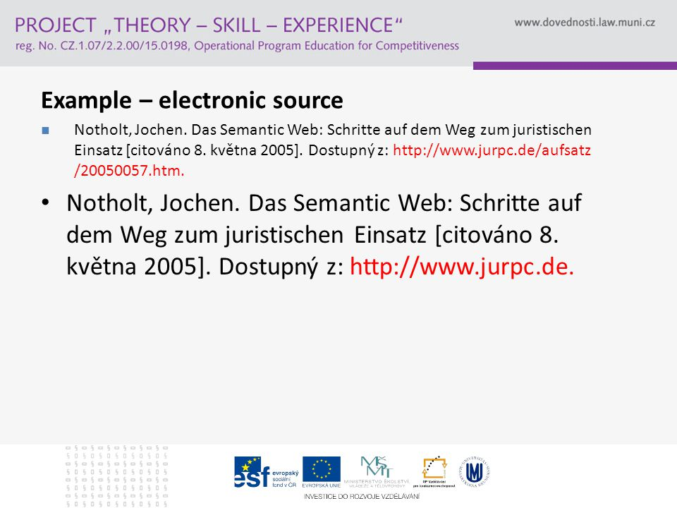 Example – electronic source Notholt, Jochen.