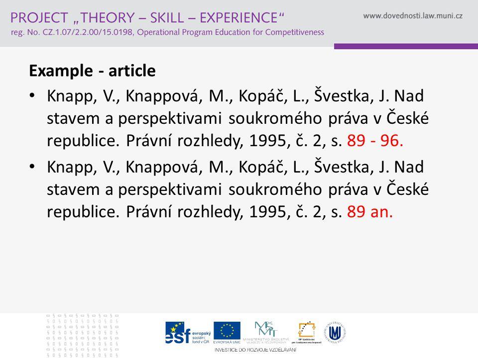 Example - article Knapp, V., Knappová, M., Kopáč, L., Švestka, J.