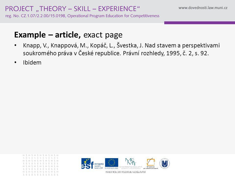 Example – article, exact page Knapp, V., Knappová, M., Kopáč, L., Švestka, J.