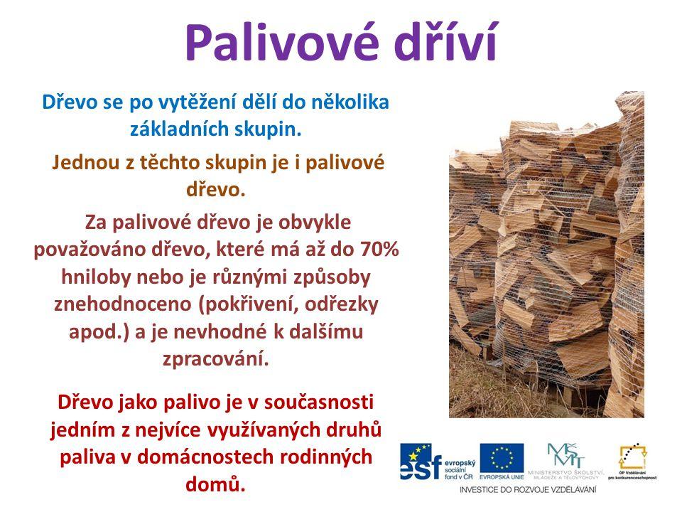 Palivové dříví Dřevo se po vytěžení dělí do několika základních skupin. Jednou z těchto skupin je i palivové dřevo. Za palivové dřevo je obvykle považ