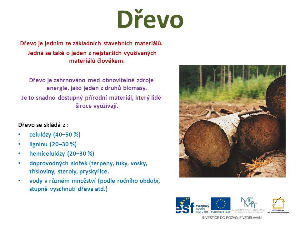 Dřevo Dřevo je jedním ze základních stavebních materiálů. Jedná se také o jeden z nejstarších využívaných materiálů člověkem. Dřevo je zahrnováno mezi
