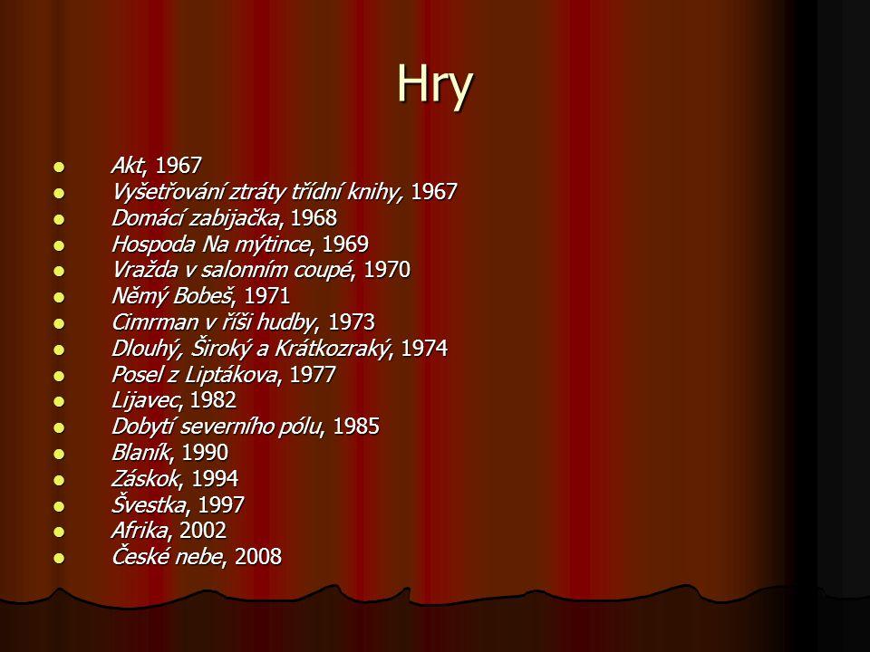 Hry Akt, 1967 Akt, 1967 Vyšetřování ztráty třídní knihy, 1967 Vyšetřování ztráty třídní knihy, 1967 Domácí zabijačka, 1968 Domácí zabijačka, 1968 Hosp
