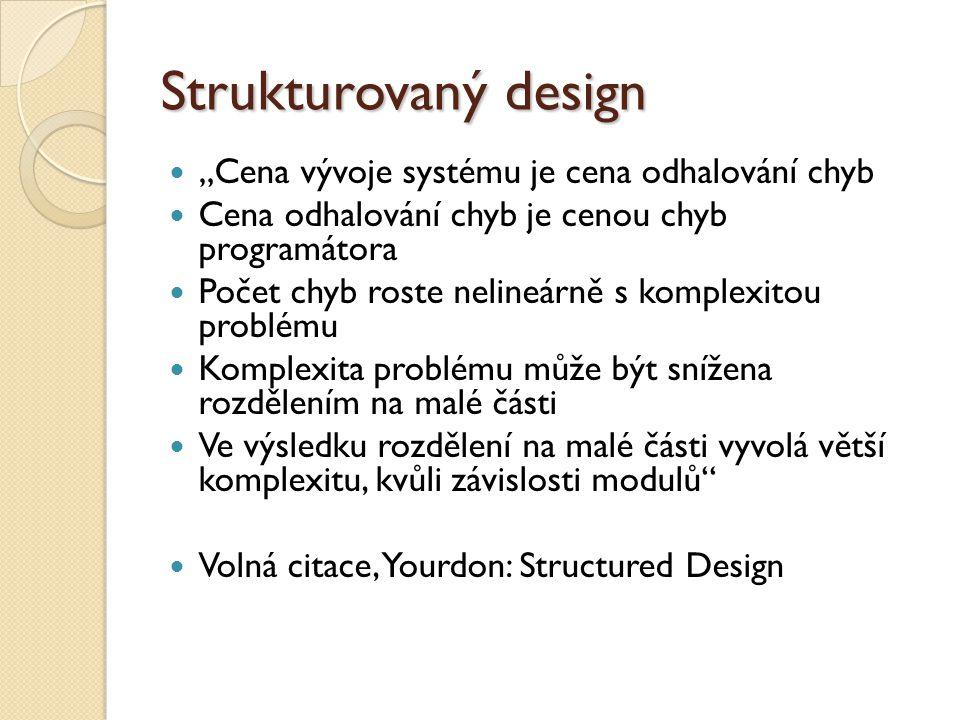"""Strukturovaný design """"Cena vývoje systému je cena odhalování chyb Cena odhalování chyb je cenou chyb programátora Počet chyb roste nelineárně s komple"""