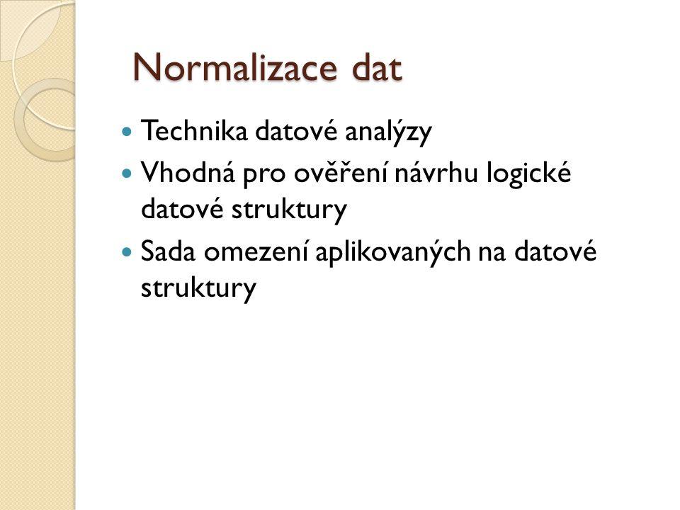 Normalizace dat Technika datové analýzy Vhodná pro ověření návrhu logické datové struktury Sada omezení aplikovaných na datové struktury