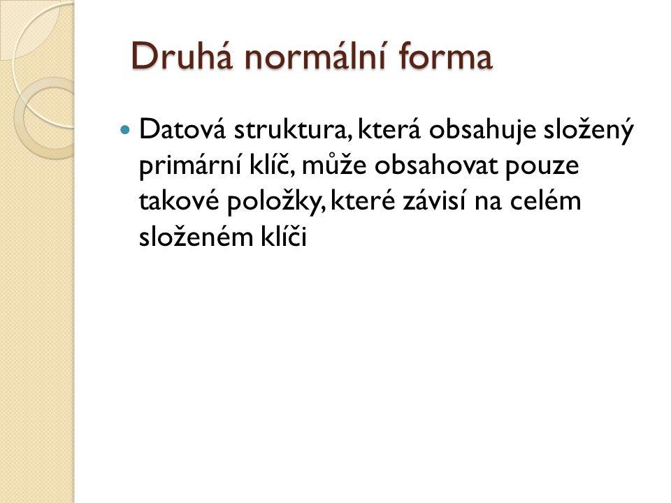 Druhá normální forma Datová struktura, která obsahuje složený primární klíč, může obsahovat pouze takové položky, které závisí na celém složeném klíči