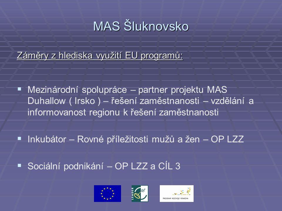 MAS Šluknovsko Záměry z hlediska využití EU programů:   Mezinárodní spolupráce – partner projektu MAS Duhallow ( Irsko ) – řešení zaměstnanosti – vzdělání a informovanost regionu k řešení zaměstnanosti   Inkubátor – Rovné příležitosti mužů a žen – OP LZZ   Sociální podnikání – OP LZZ a CÍL 3